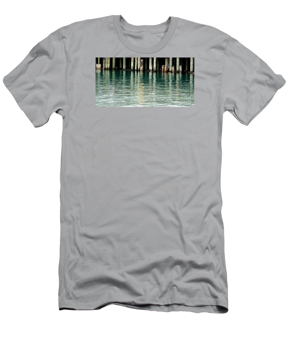 Dock Men's T-Shirt (Athletic Fit) featuring the photograph Patterns Of Abstraction by Linda Shafer