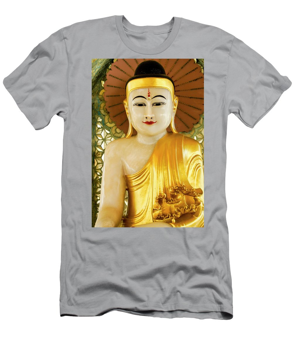 Asia Men's T-Shirt (Athletic Fit) featuring the photograph Peaceful Buddha by Michele Burgess