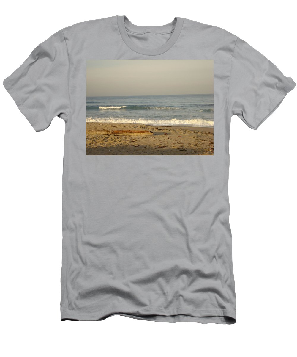 Beach Men's T-Shirt (Athletic Fit) featuring the photograph Peaceful Morning Beach by Cathi Abbiss Crane