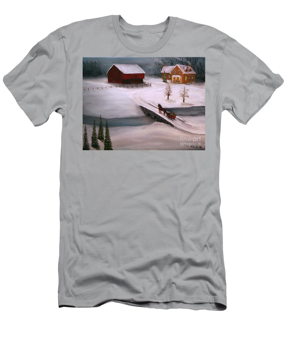 Barn Men's T-Shirt (Athletic Fit) featuring the painting Peaceful Winter Evening by Timothy Smith