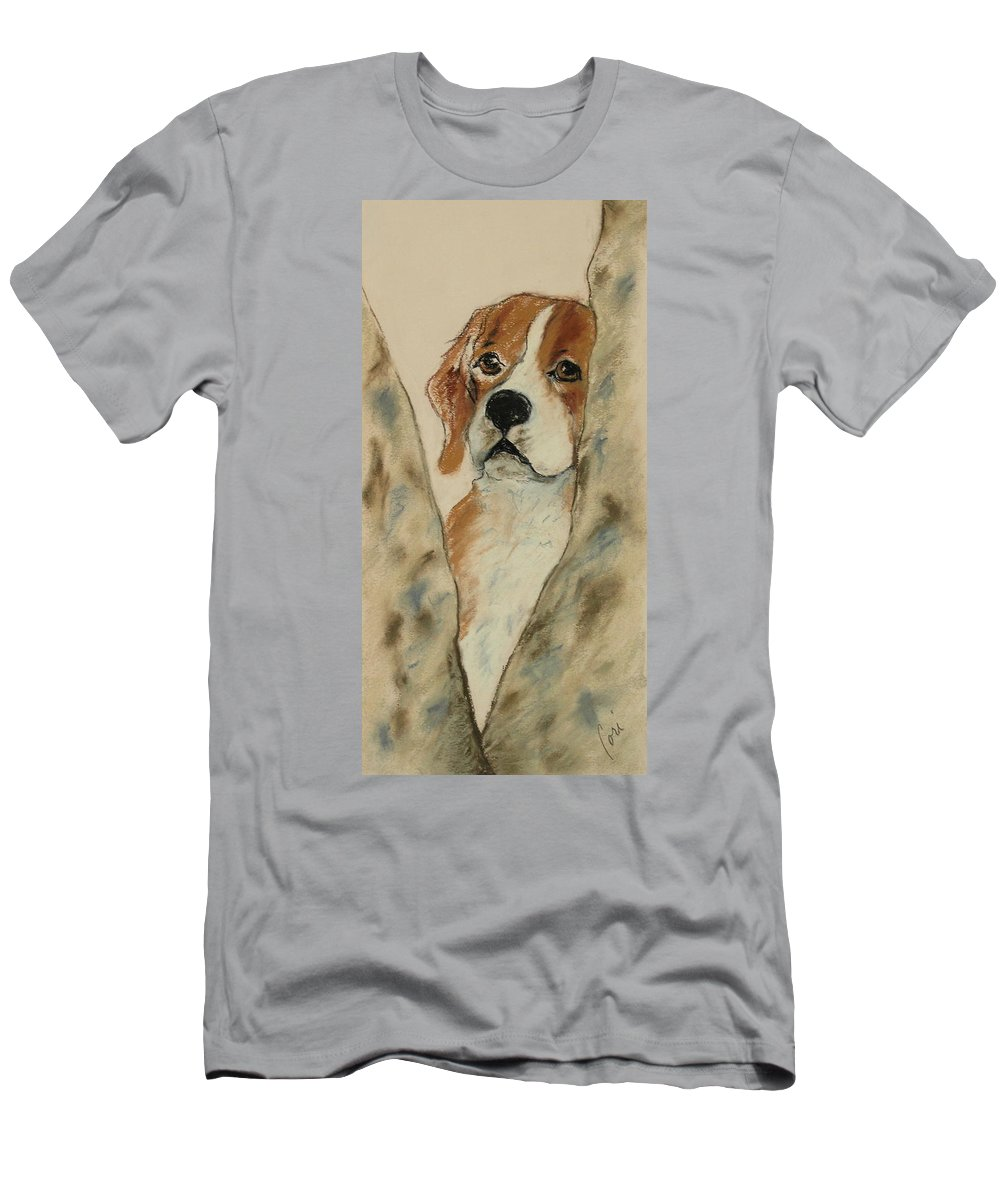 Beagle Men's T-Shirt (Athletic Fit) featuring the drawing Peek A Boo by Cori Solomon