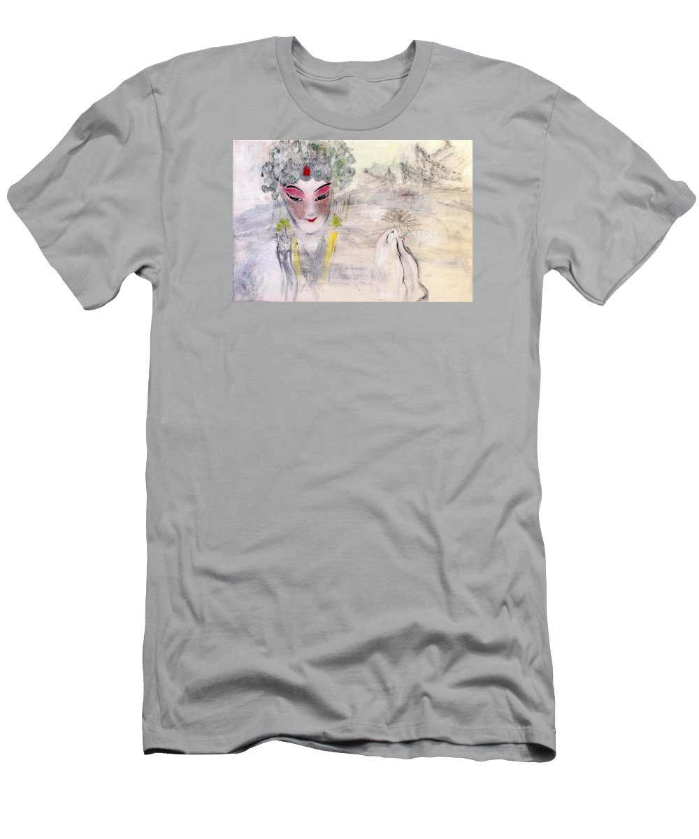 Peking Bei Jing Opera Face Mask Singing Beauty Fan Temple Stage Life Dance Mountain Men's T-Shirt (Athletic Fit) featuring the painting Peking Opera by J j Jin