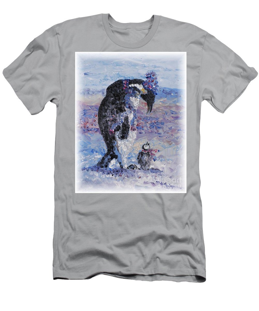 Penguins Winter Snow Blue Purple White T-Shirt featuring the painting Penguin Love by Nadine Rippelmeyer