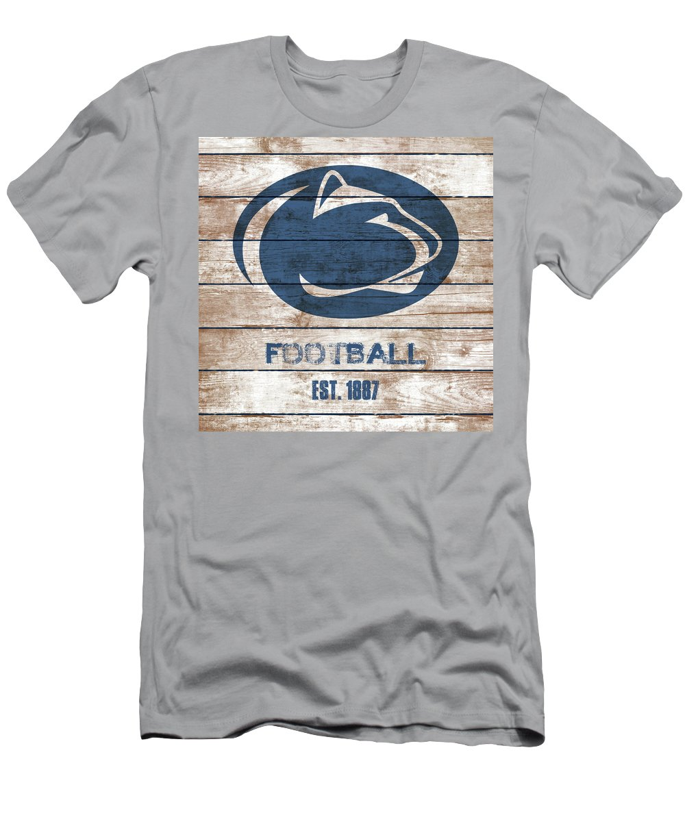 Penn State Football Men's T-Shirt (Athletic Fit) featuring the painting Penn State // Football // Distressed Wood by Tim Miklos