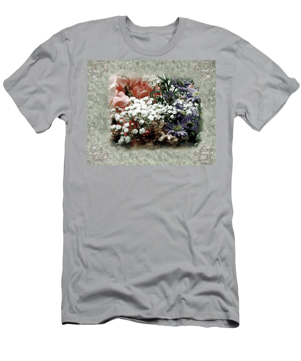 Flowers Men's T-Shirt (Athletic Fit) featuring the painting Penny Postcard Romantica by RC DeWinter