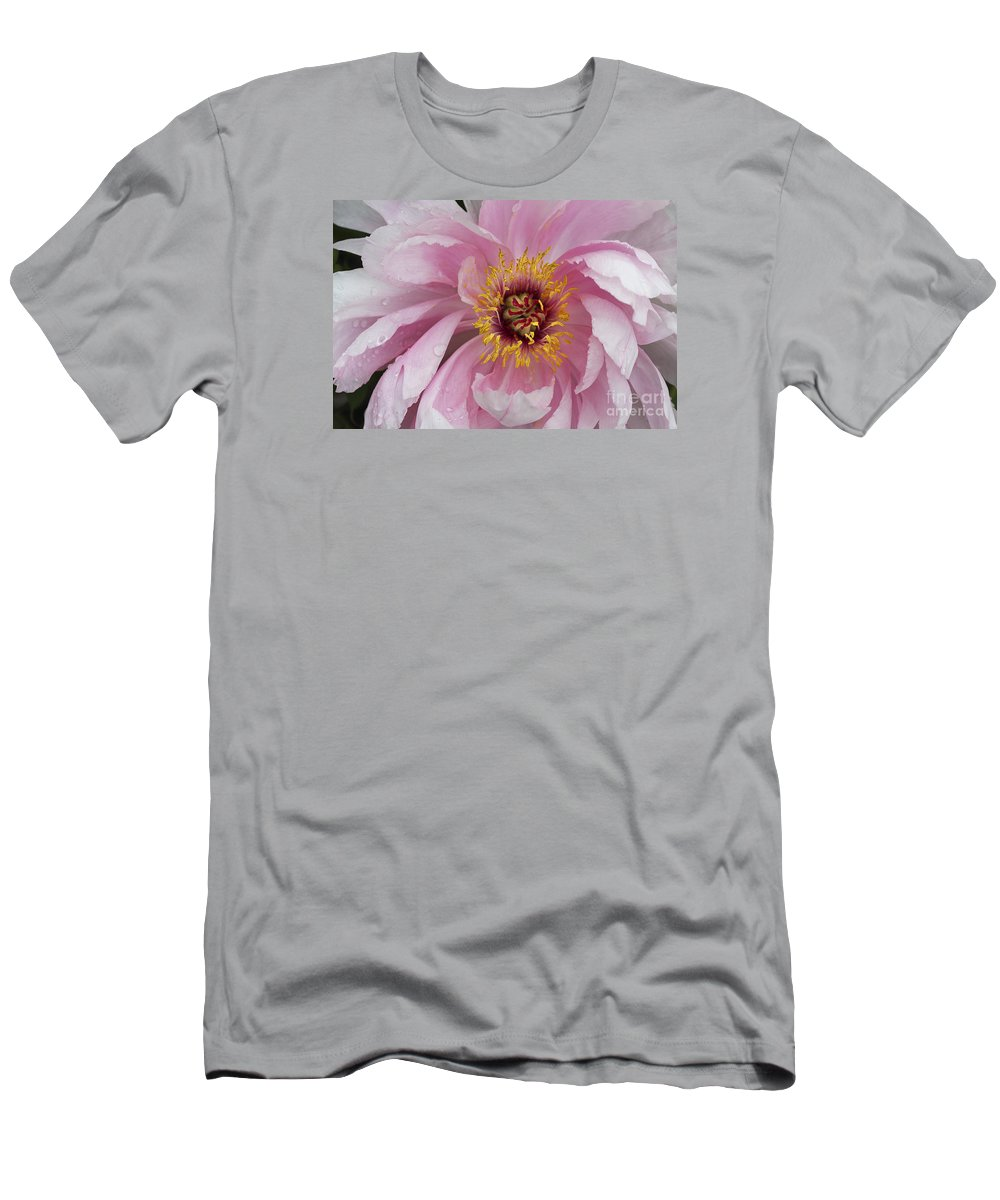 Flower Men's T-Shirt (Athletic Fit) featuring the photograph Peonie In Pink by Deborah Benoit