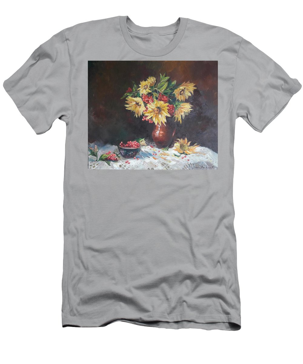 Still Life Men's T-Shirt (Athletic Fit) featuring the painting Still-life With Sunflowers by Kateryna Kostiuk-Shostka