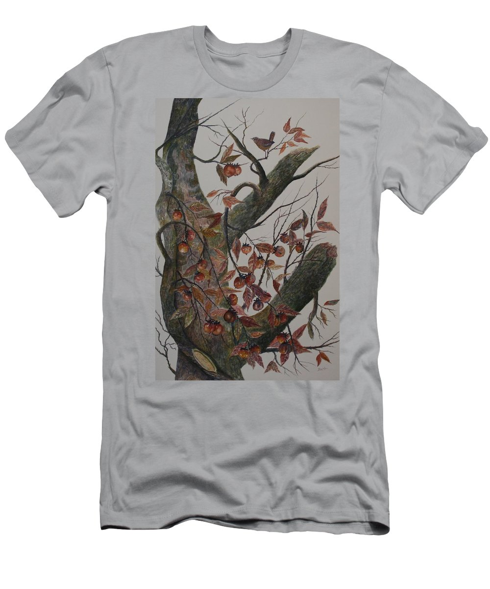 Persimmons; Tree; Landscape' Carolina Wren; Bird Men's T-Shirt (Athletic Fit) featuring the painting Persimmon Tree by Ben Kiger
