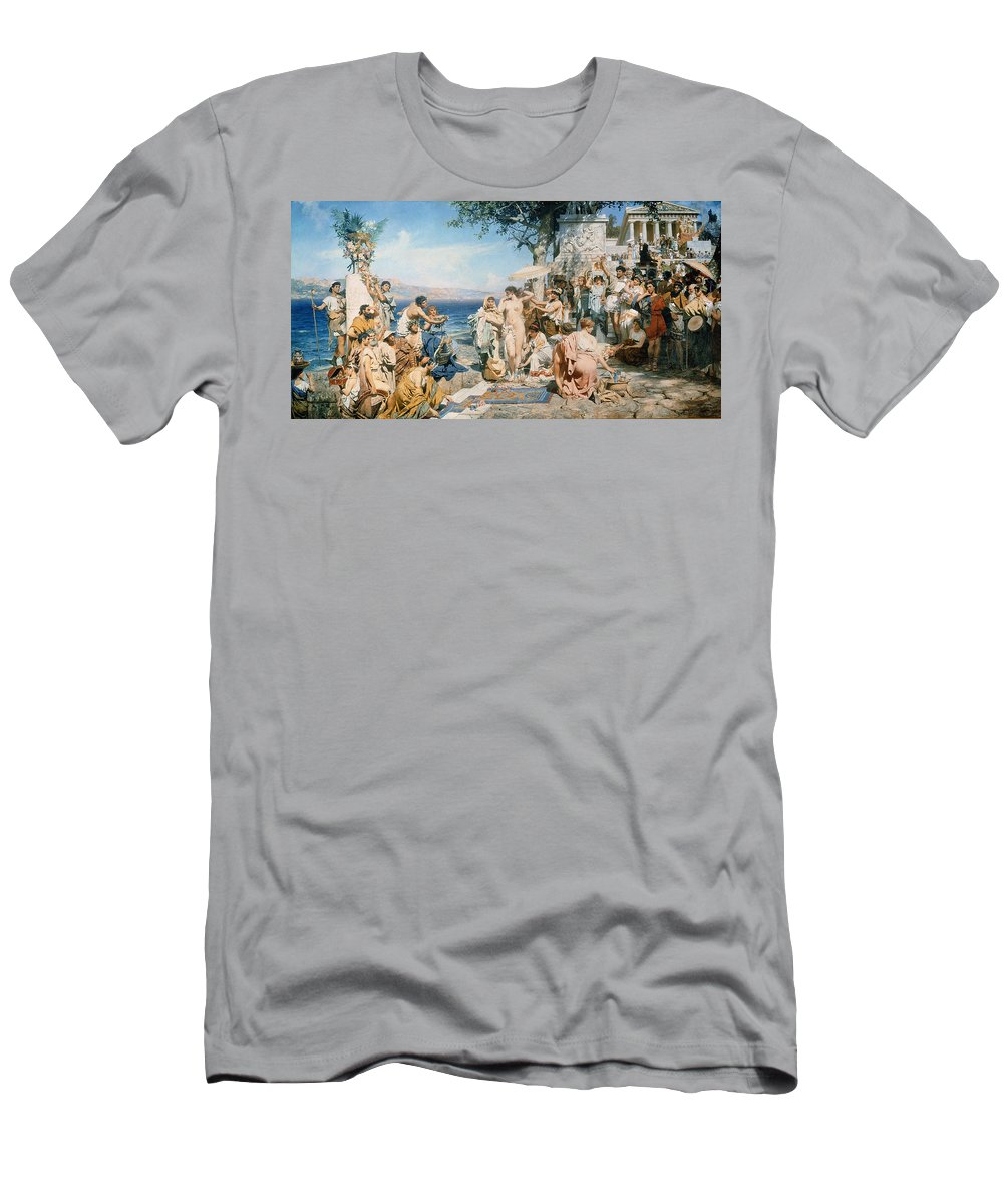 Phryne At The Festival Of Poseidon In Eleusin (oil On Canvas) By Henryk Siemieradzki (1843-1902) Men's T-Shirt (Athletic Fit) featuring the painting Phryne At The Festival Of Poseidon In Eleusin by Henryk Siemieradzki