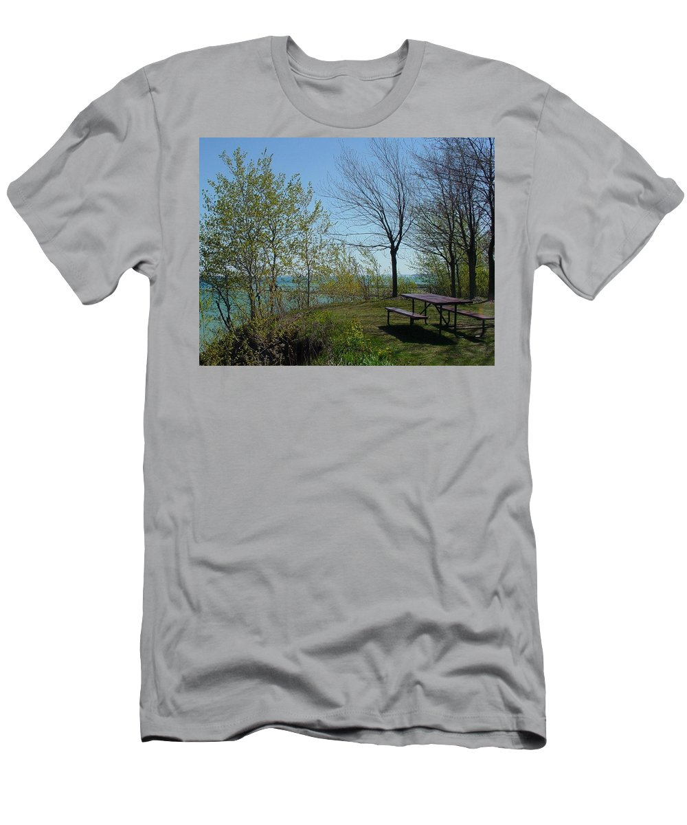 Lake View Men's T-Shirt (Athletic Fit) featuring the photograph Picnic Table By The Lake Photo by Anita Burgermeister