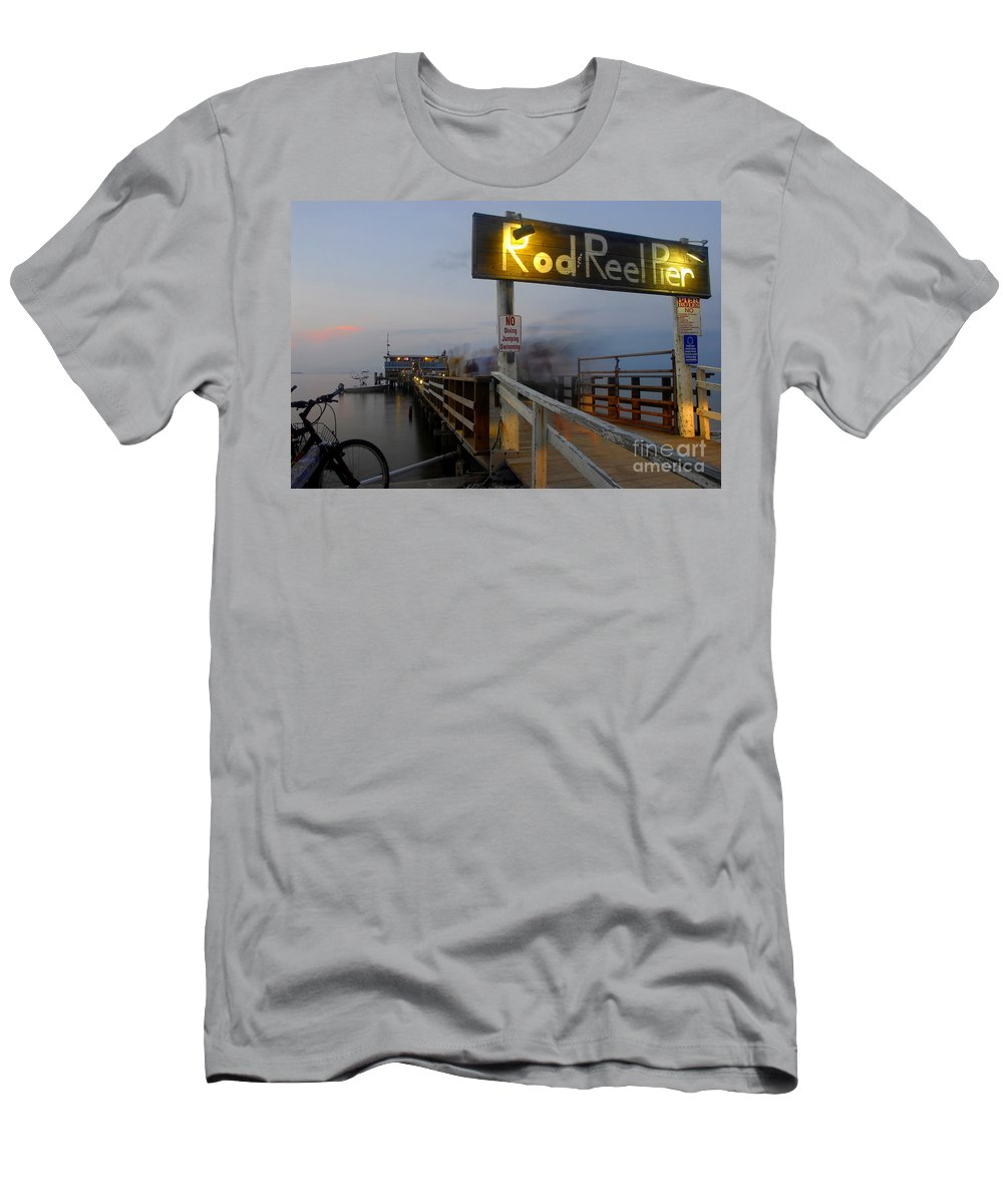 Fishing Pier Men's T-Shirt (Athletic Fit) featuring the photograph Pier Group by David Lee Thompson