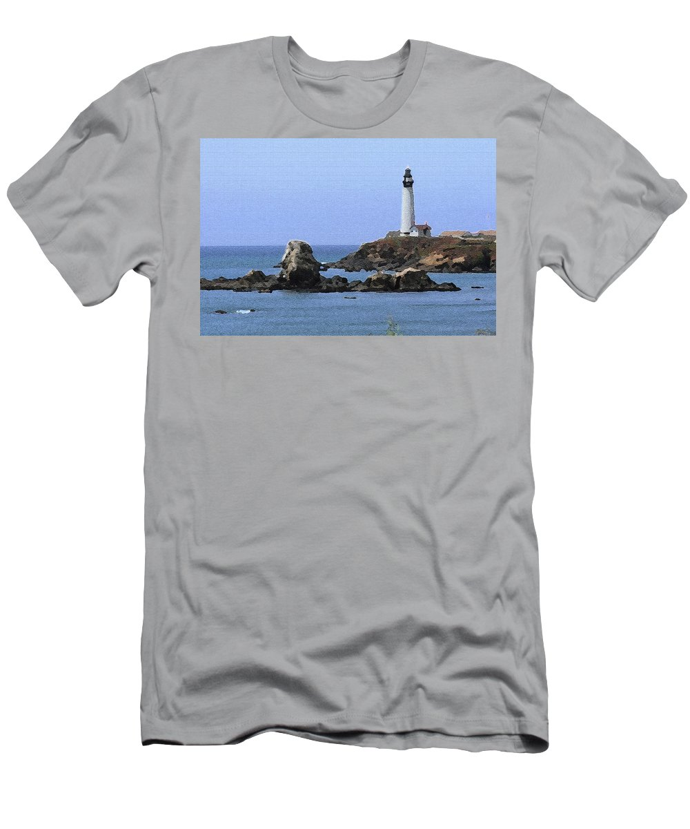 California Men's T-Shirt (Athletic Fit) featuring the photograph Pigeon Point Lighthouse - Palette Knife by Lou Ford