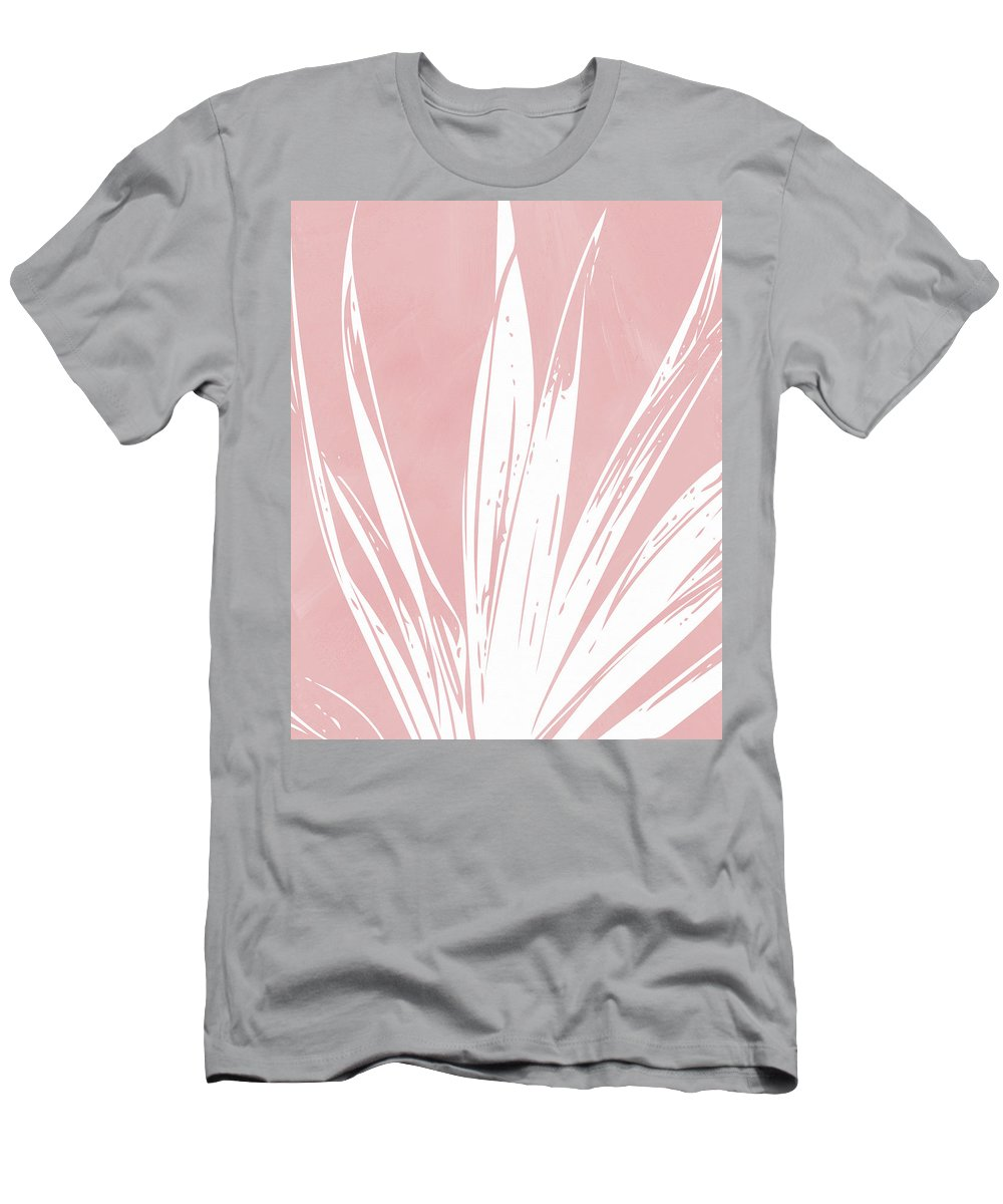 Leaf T-Shirt featuring the mixed media Pink and White Tropical Leaf- Art by Linda Woods by Linda Woods
