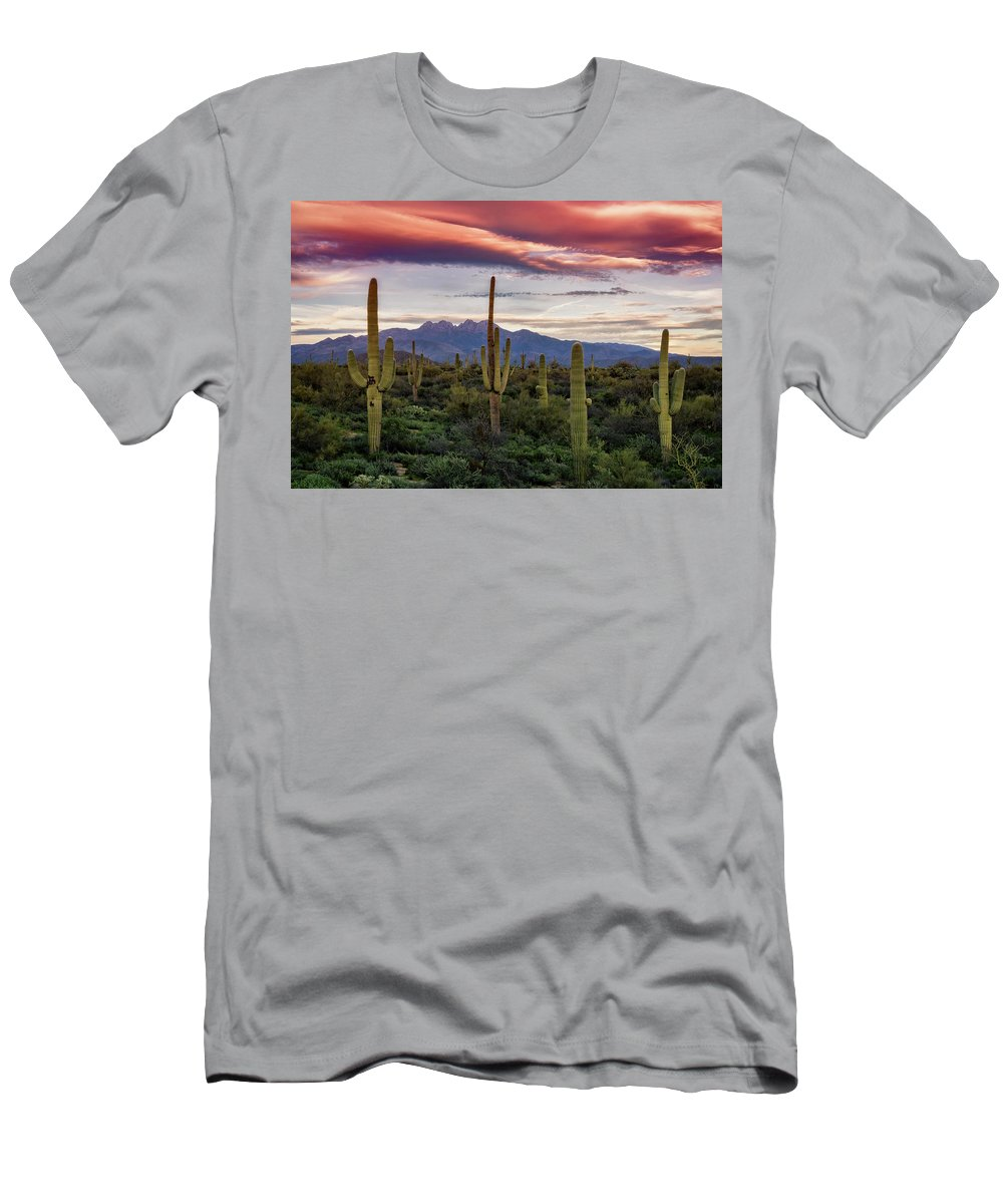 Sunset Men's T-Shirt (Athletic Fit) featuring the photograph Pink Four Peaks Sunset by Saija Lehtonen