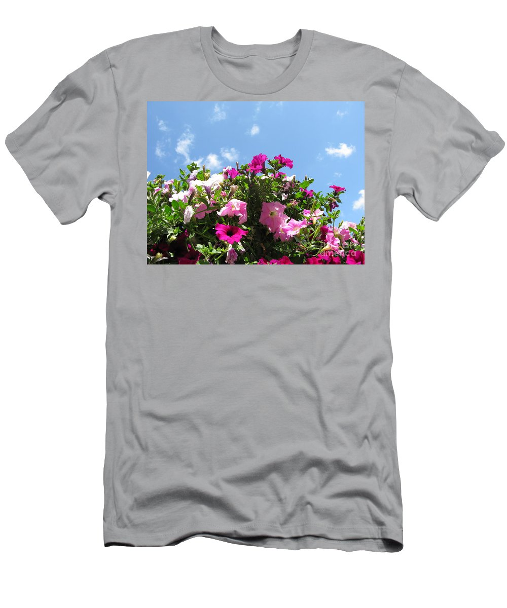 Petunia Men's T-Shirt (Athletic Fit) featuring the photograph Pink Petunias In The Sky by Ausra Huntington nee Paulauskaite