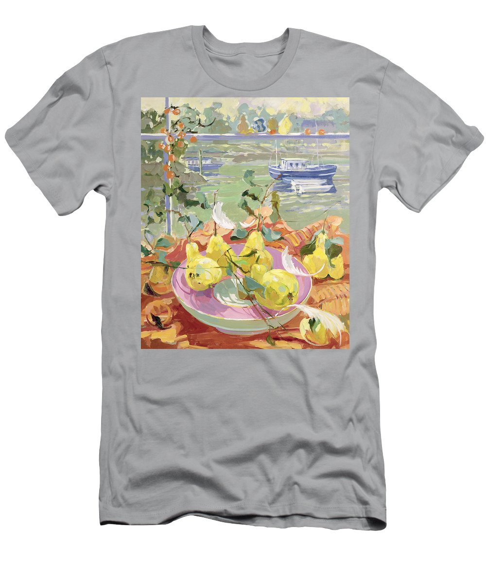 Still-life Men's T-Shirt (Athletic Fit) featuring the painting Pink Plate Of Pears by Elizabeth Jane Lloyd