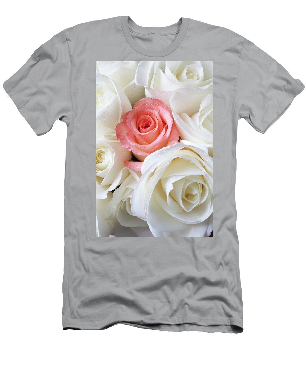 Pink Rose White Roses Men's T-Shirt (Athletic Fit) featuring the photograph Pink Rose Among White Roses by Garry Gay