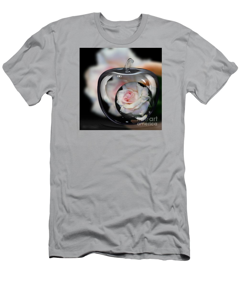Pink Rose In Apple Men's T-Shirt (Athletic Fit) featuring the photograph Pink Rose In Apple by Jeannie Rhode