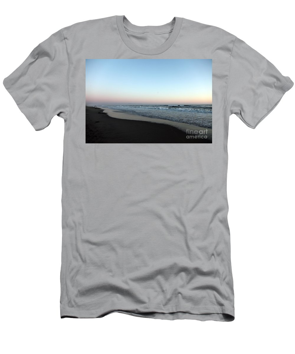 Beaches Men's T-Shirt (Athletic Fit) featuring the photograph Pink Skyline by Amanda Barcon