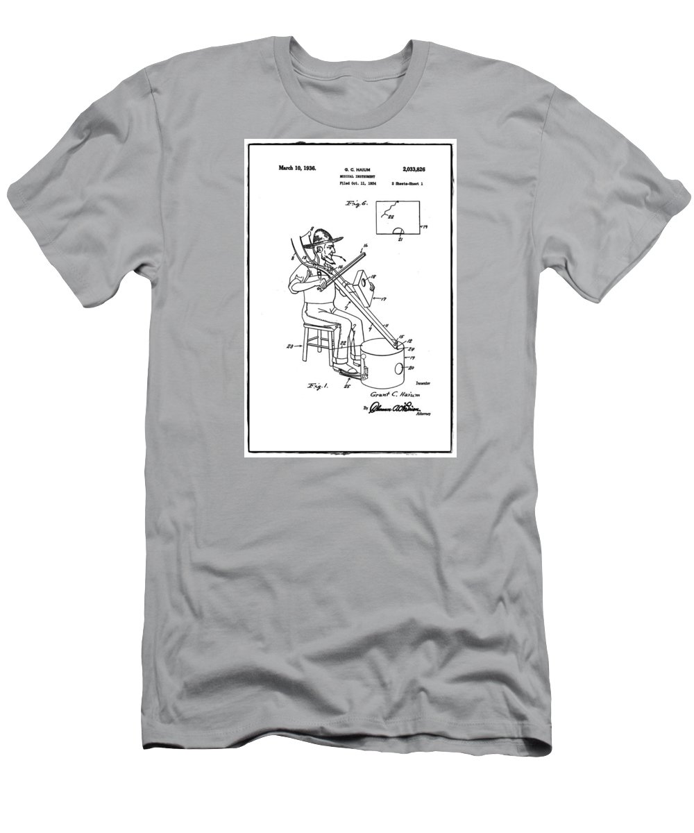 Pitch Men's T-Shirt (Athletic Fit) featuring the photograph Pitch Fork Fiddle And Drum Patent 1936 - White by Bill Cannon