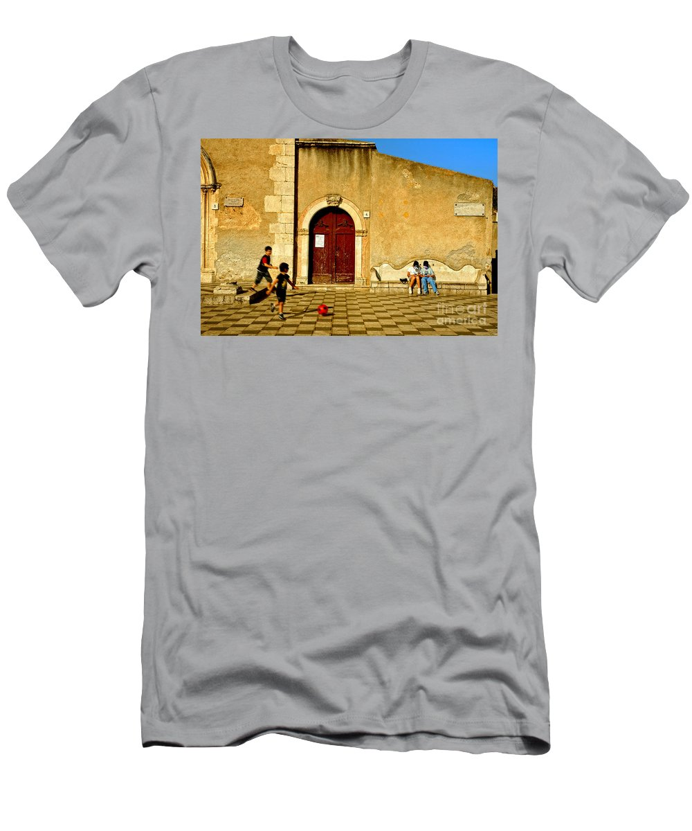 Antique Men's T-Shirt (Athletic Fit) featuring the photograph Playing In Taormina by Silvia Ganora