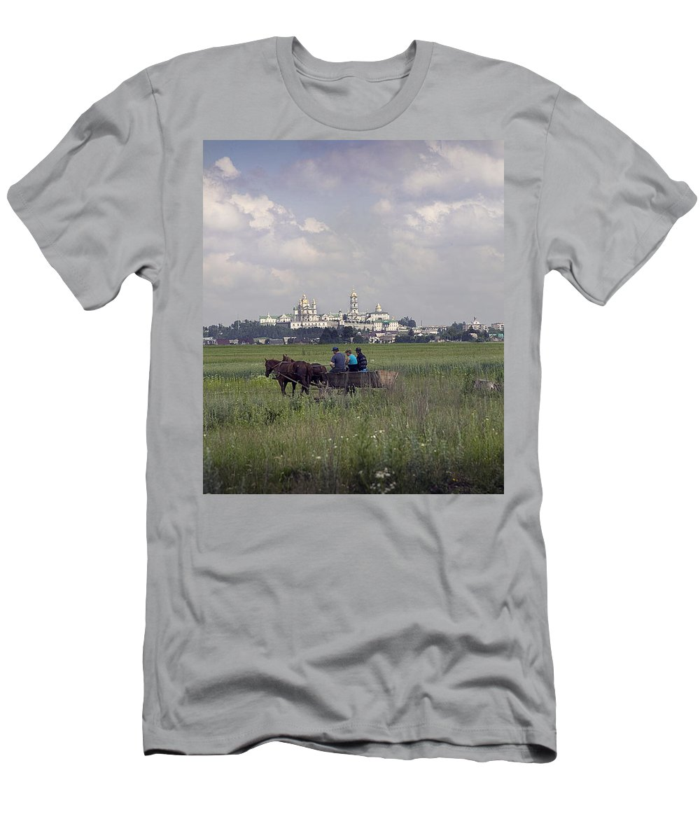 Ukraine Men's T-Shirt (Athletic Fit) featuring the photograph Pochaiv Monastery Ukraine by Yuri Lev