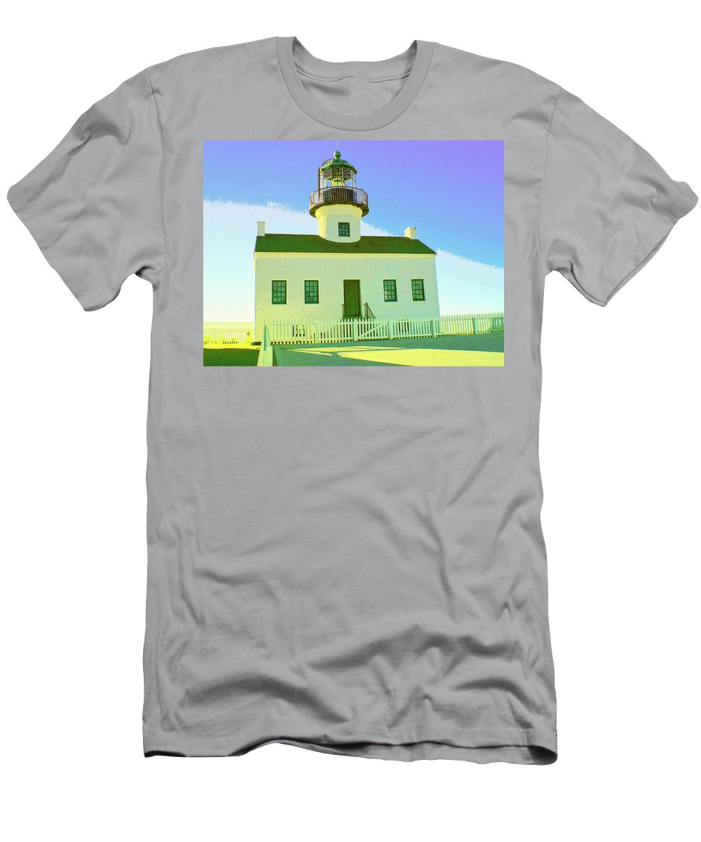 Point Loma Men's T-Shirt (Athletic Fit) featuring the mixed media Point Loma Lighthouse by Dominic Piperata