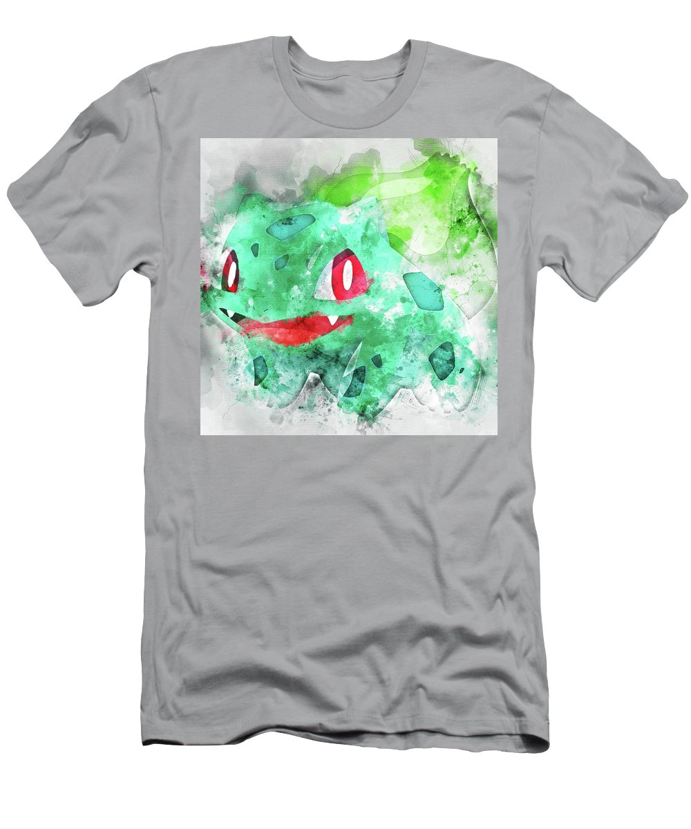 f88a0666 Pokemon Men's T-Shirt (Athletic Fit) featuring the painting Pokemon  Bulbasaur Abstract Portrait