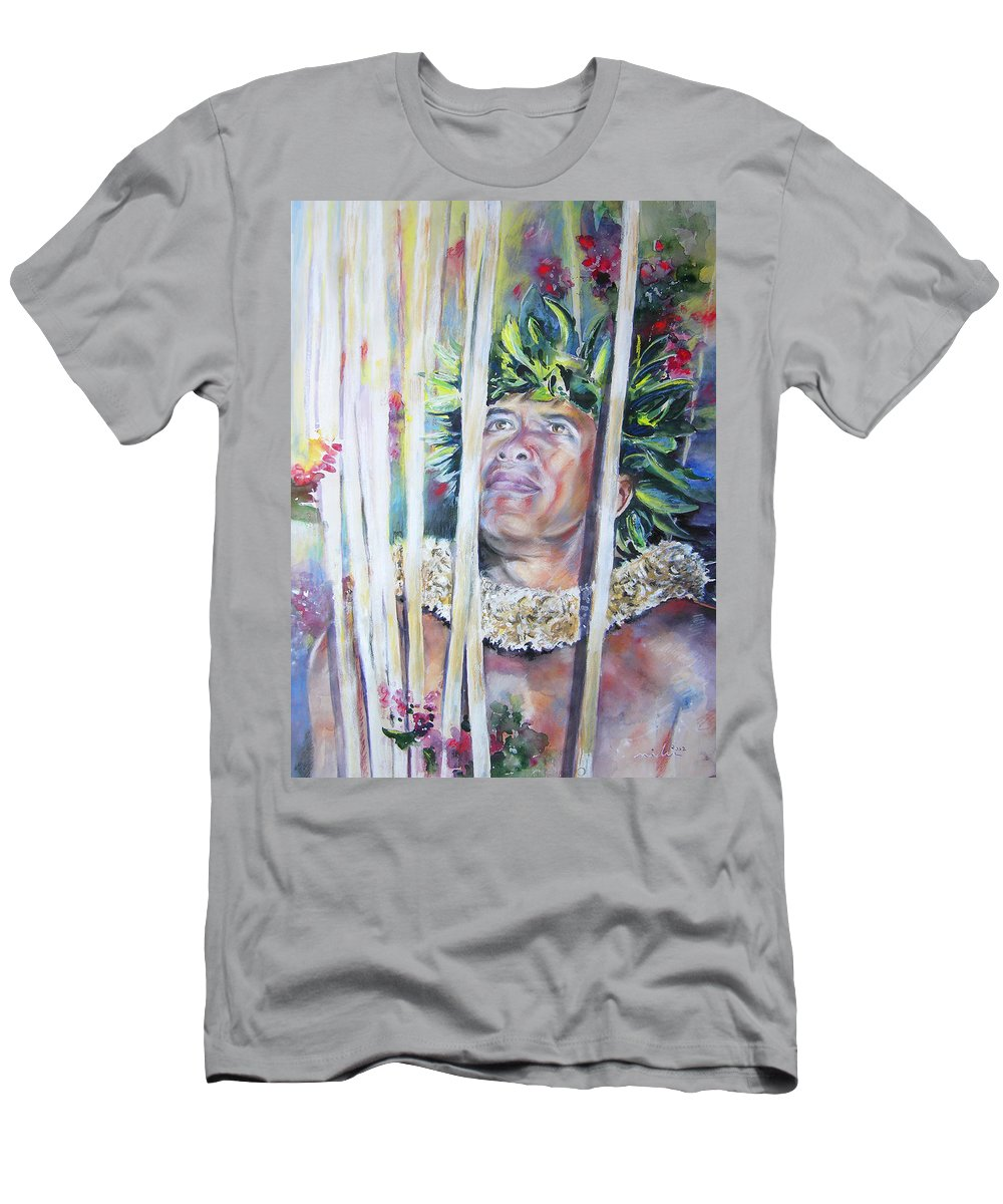 Polynesia Men's T-Shirt (Athletic Fit) featuring the painting Polynesian Maori Warrior With Spears by Miki De Goodaboom