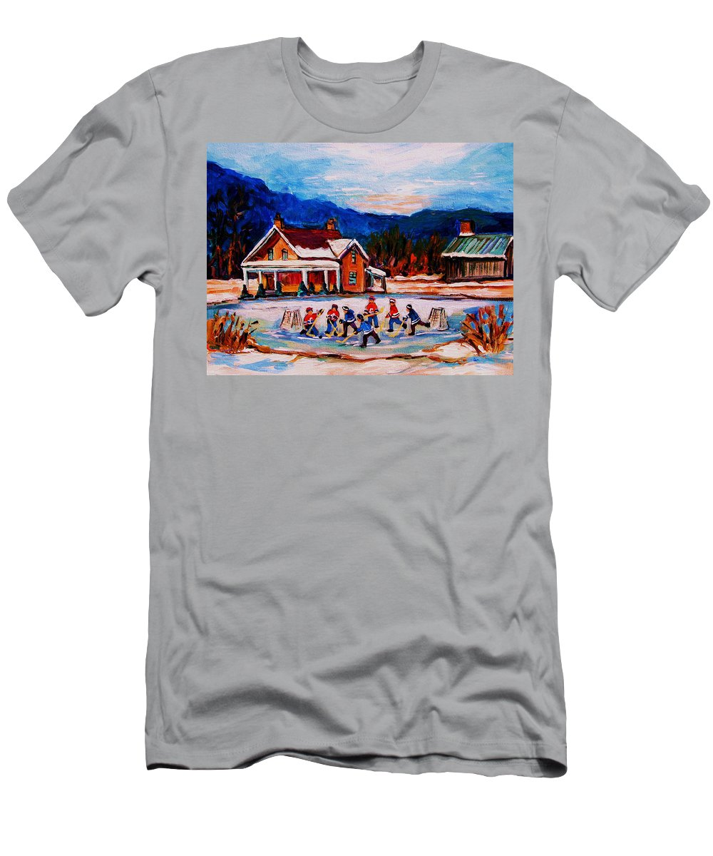 Hockey T-Shirt featuring the painting Pond Hockey by Carole Spandau