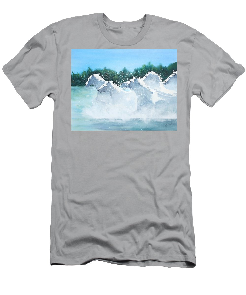 Horse T-Shirt featuring the painting Splash 2 by Ally Benbrook