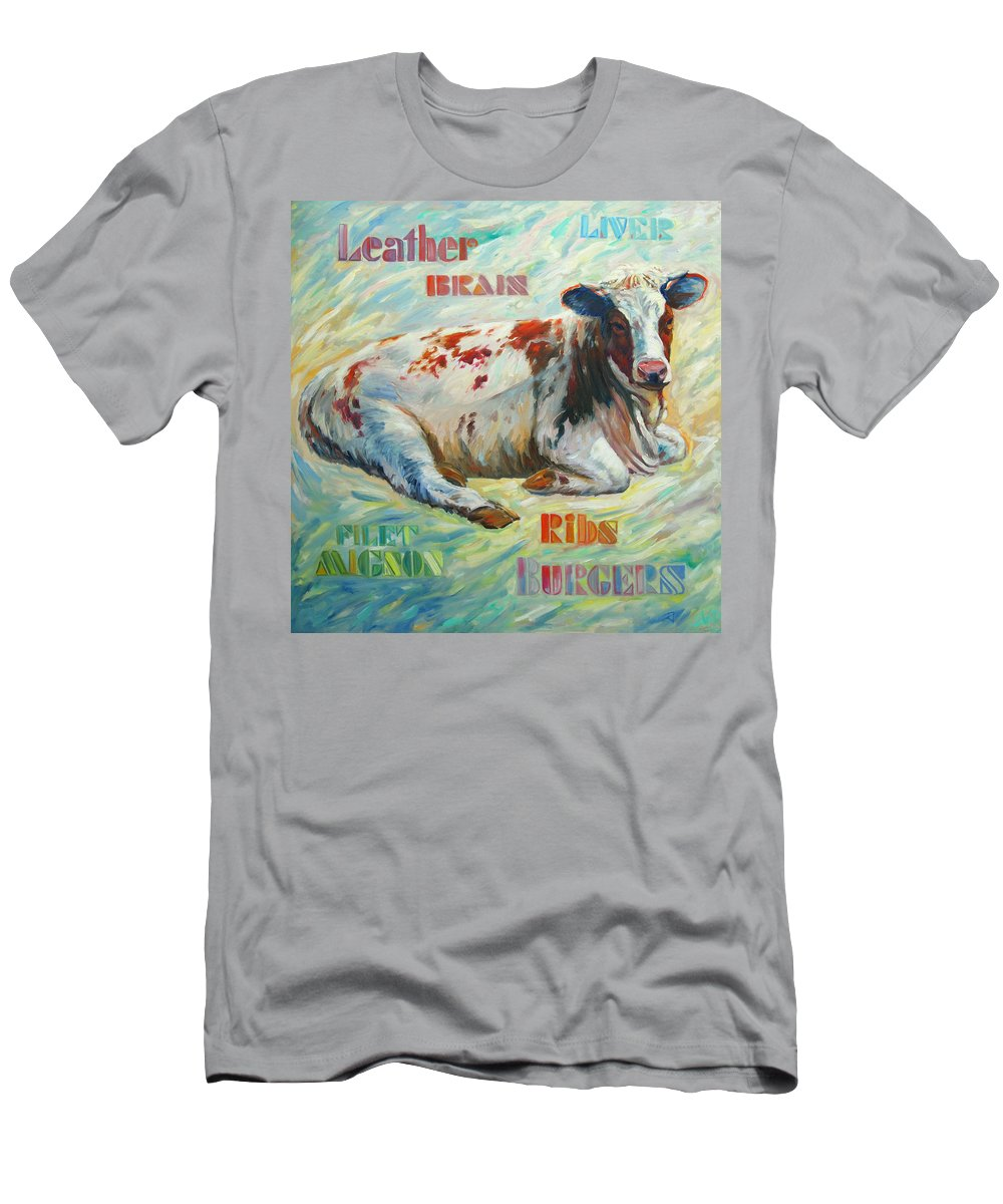 Livestock Men's T-Shirt (Athletic Fit) featuring the painting Poor Miss Bessie by Rick Nederlof