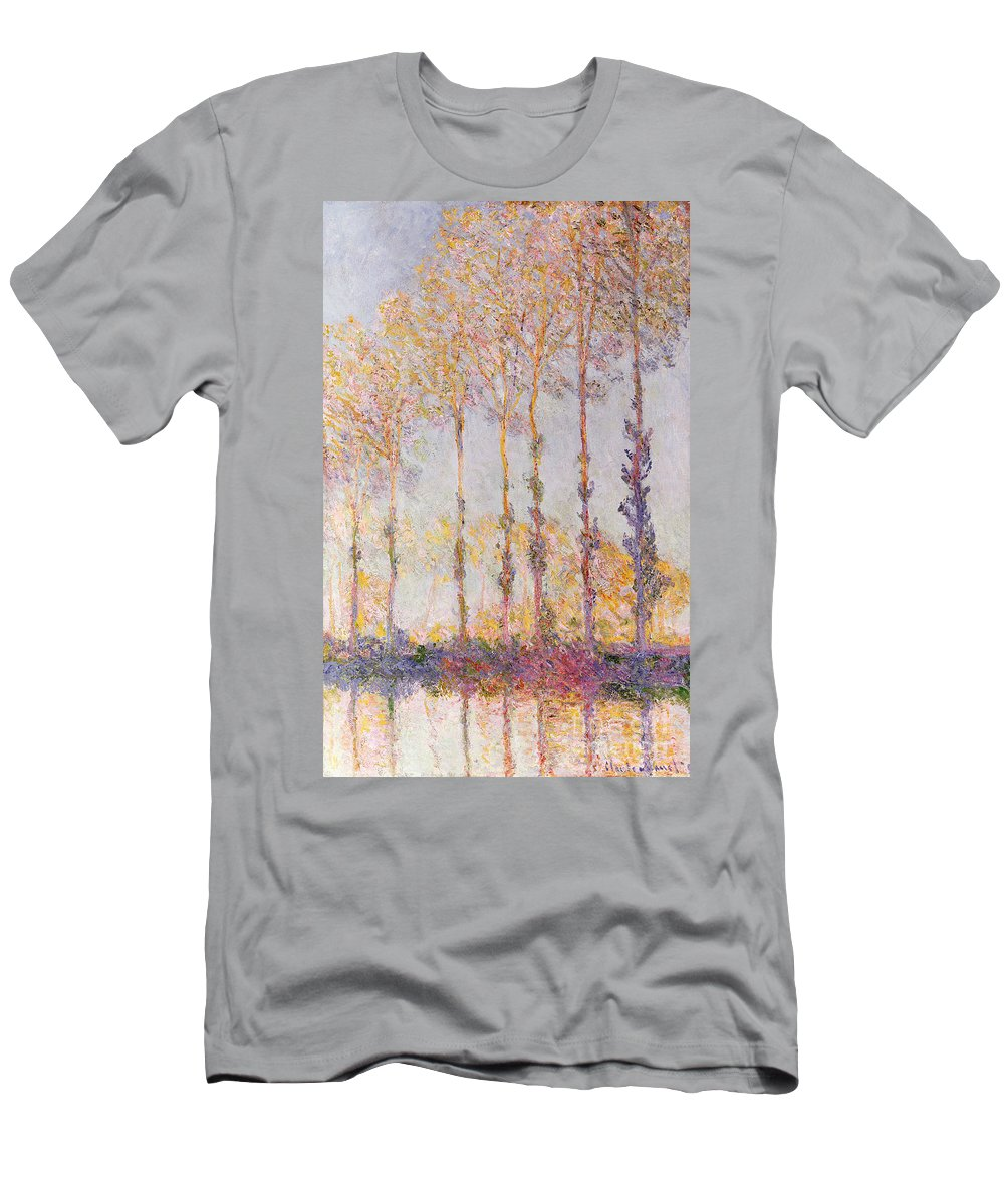 Poplars On The Banks Of The Epte Men's T-Shirt (Athletic Fit) featuring the painting Poplars On The Banks Of The Epte by Claude Monet