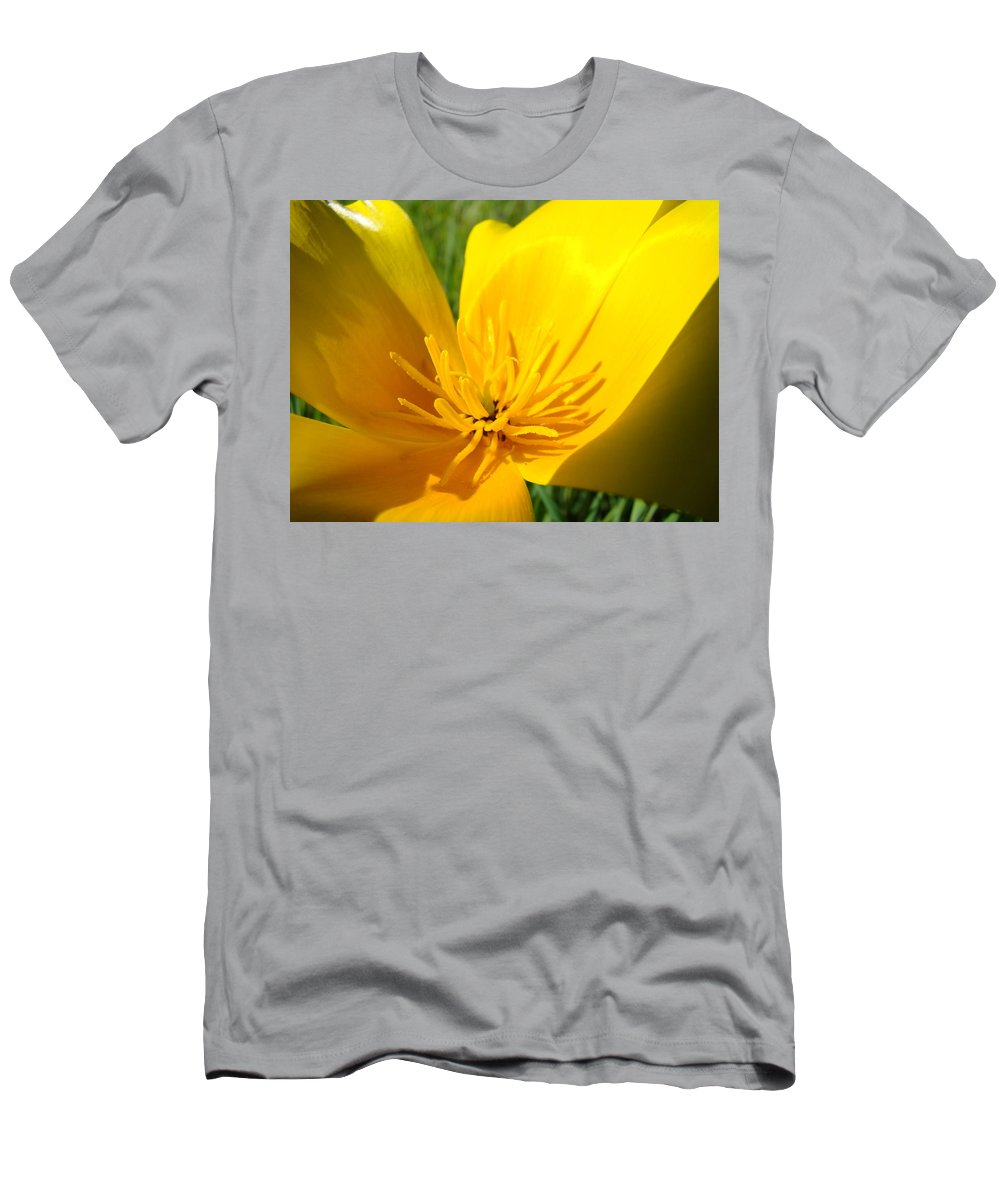 �poppies Artwork� Men's T-Shirt (Athletic Fit) featuring the photograph Poppy Flower Close Up Macro 20 Poppies Meadow Giclee Art Prints Baslee Troutman by Baslee Troutman