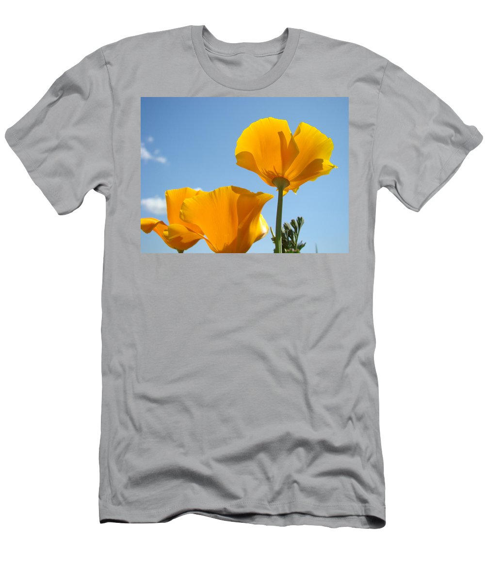 �poppies Artwork� Men's T-Shirt (Athletic Fit) featuring the photograph Poppy Landscape Poppies Flowers Blue Sky 12 Baslee Troutman by Baslee Troutman