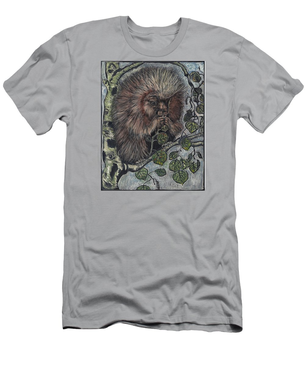 Animal Men's T-Shirt (Athletic Fit) featuring the drawing Porcupine In Aspen by Dawn Senior-Trask