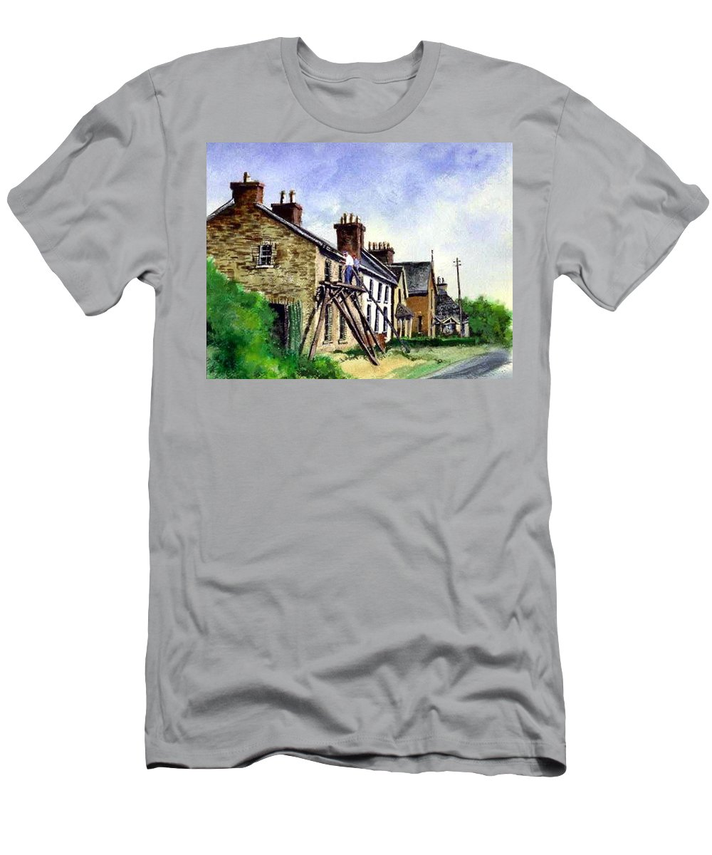 Water Color T-Shirt featuring the painting Port Rush Gutter Repair by Jim Gola