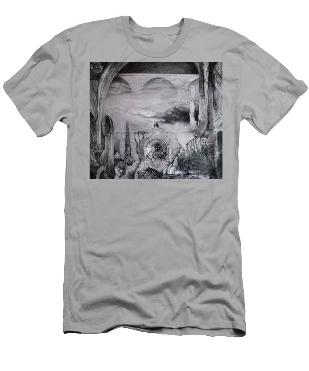 Graphite Drawing T-Shirt featuring the drawing Portal To Bogomils Universe Iv by Otto Rapp