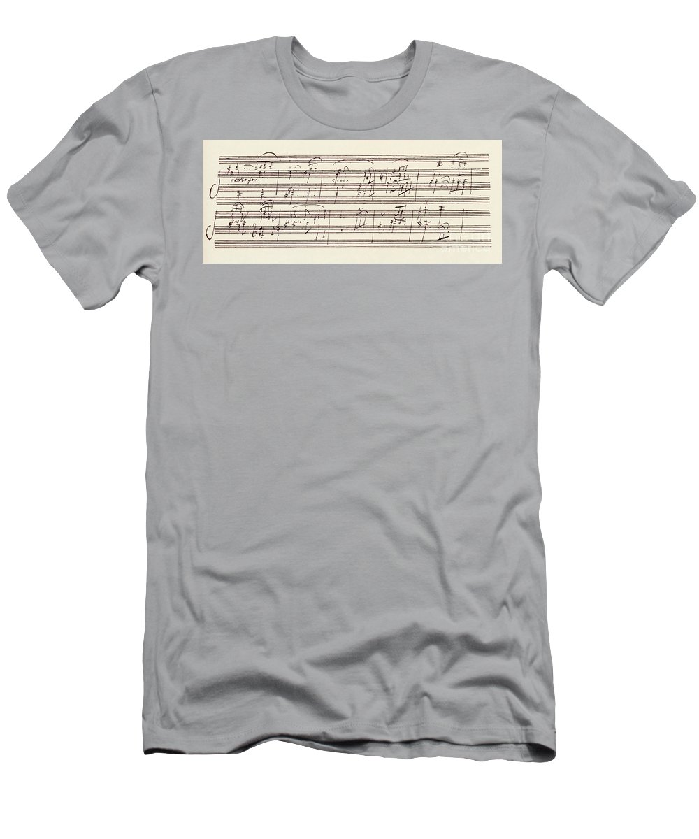 Beethoven Men's T-Shirt (Athletic Fit) featuring the drawing Portion Of The Manuscript Of Beethoven's Sonata In A, Opus 101 by Beethoven