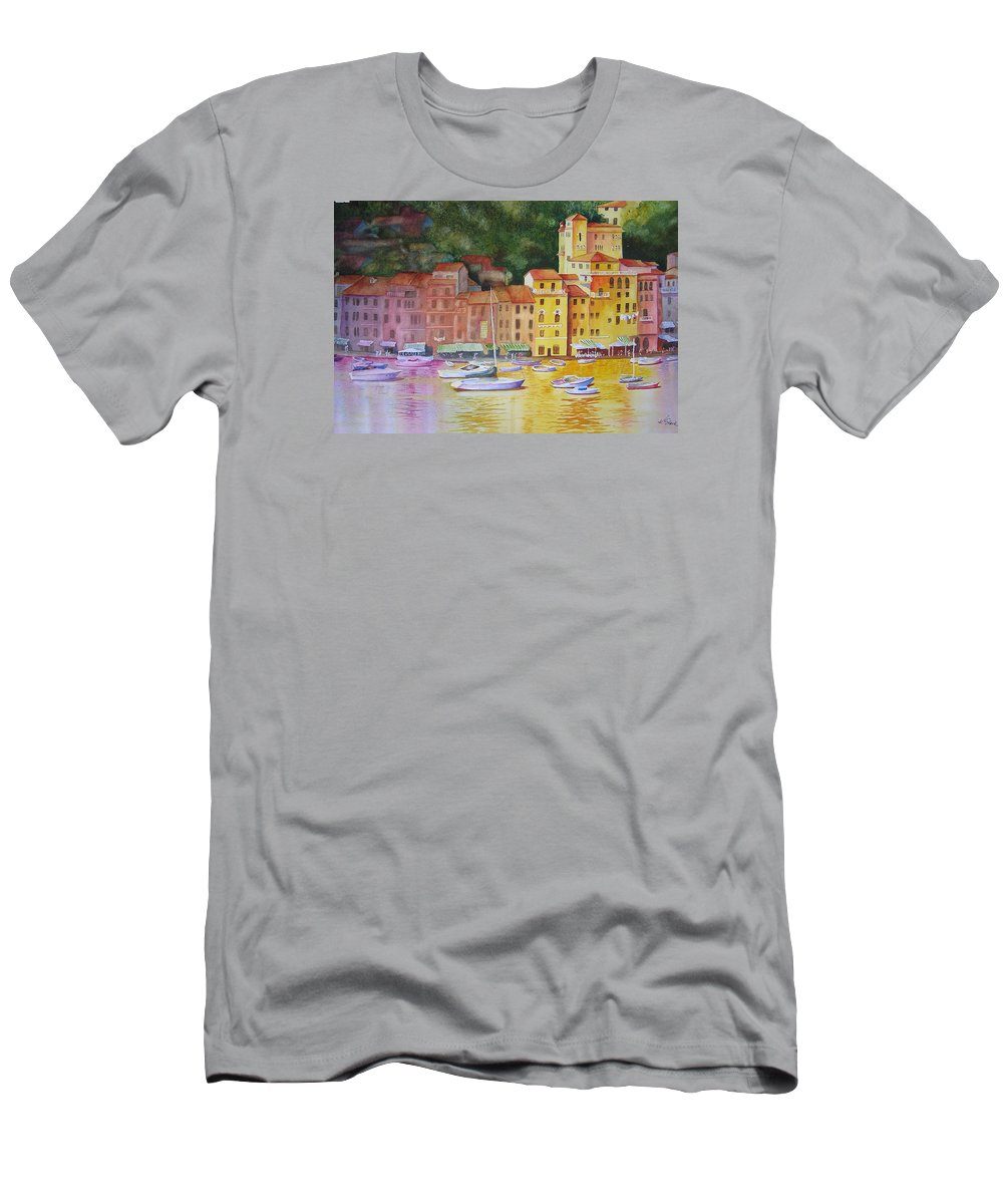 Italy Men's T-Shirt (Athletic Fit) featuring the painting Portofino Afternoon by Karen Stark