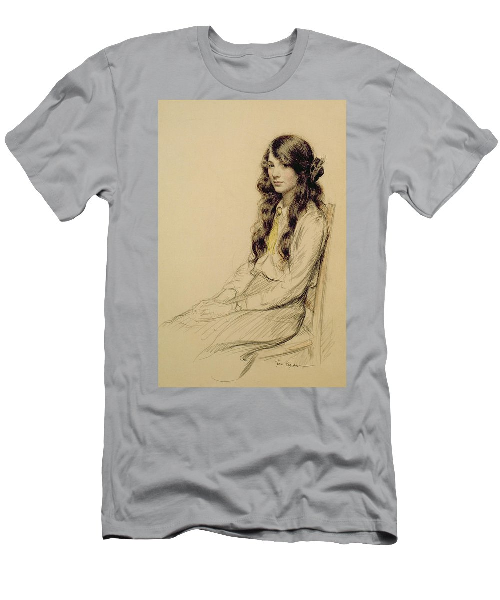 Portrait Men's T-Shirt (Athletic Fit) featuring the drawing Portrait Of A Young Girl by Frederick Pegram