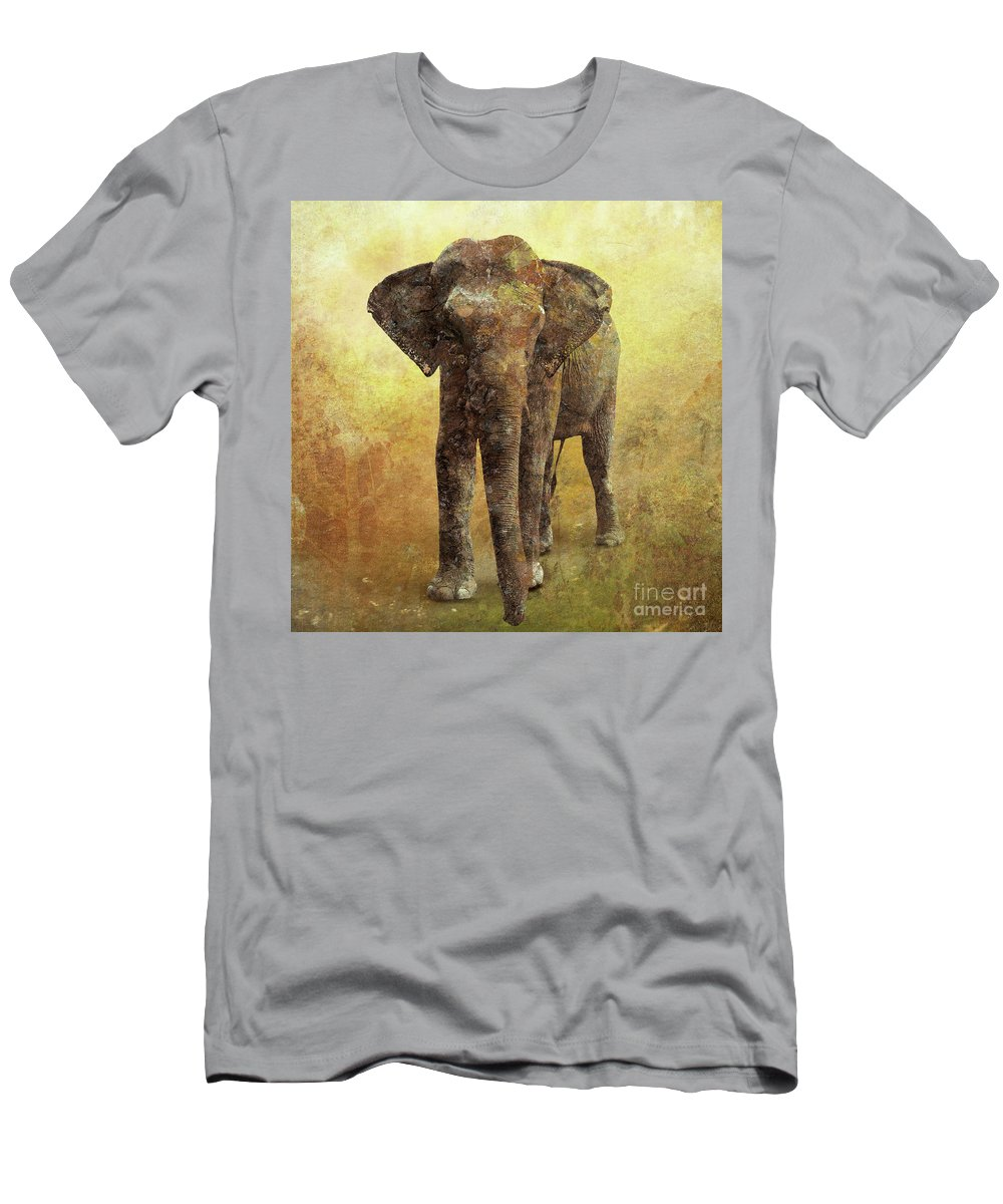 Elephant Men's T-Shirt (Athletic Fit) featuring the digital art Portrait Of An Elephant Digital Painting With Detailed Texture by Lucy Baldwin