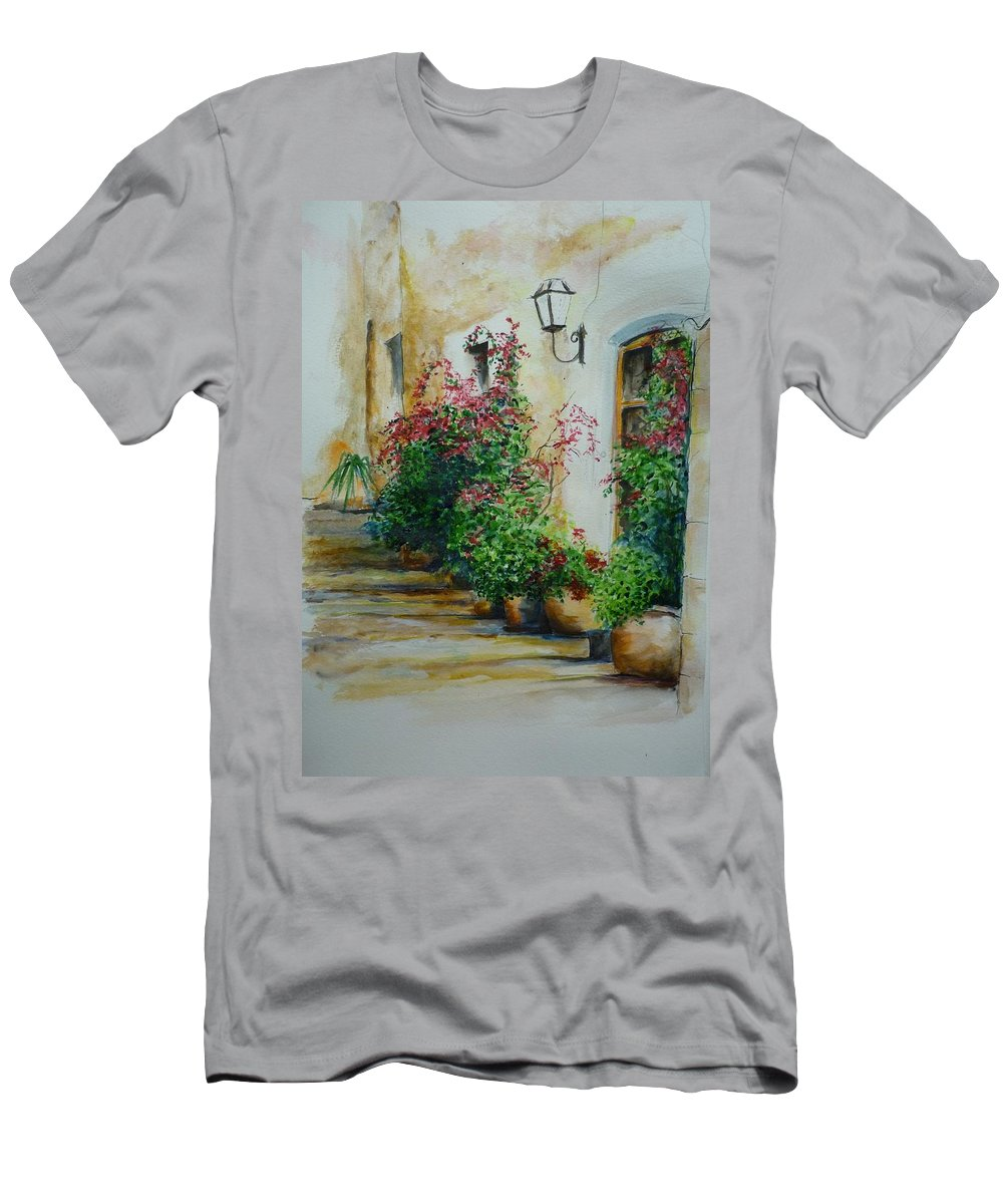 Earthenware Pots Men's T-Shirt (Athletic Fit) featuring the painting Pots And Plants by Lizzy Forrester