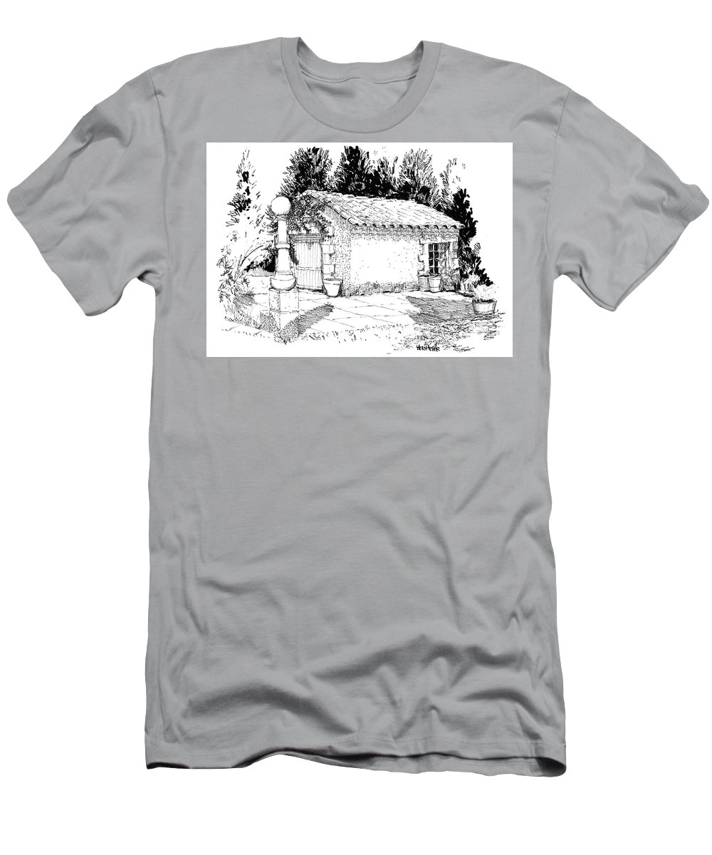 Architecture Men's T-Shirt (Athletic Fit) featuring the drawing Potting Shed At Le Coin Retro In Le Thor France by Ken Pieper