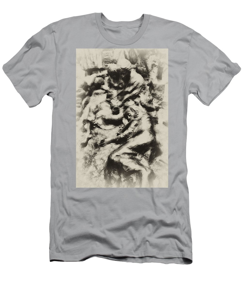 Philadelphia Men's T-Shirt (Athletic Fit) featuring the photograph Poverty by Bill Cannon
