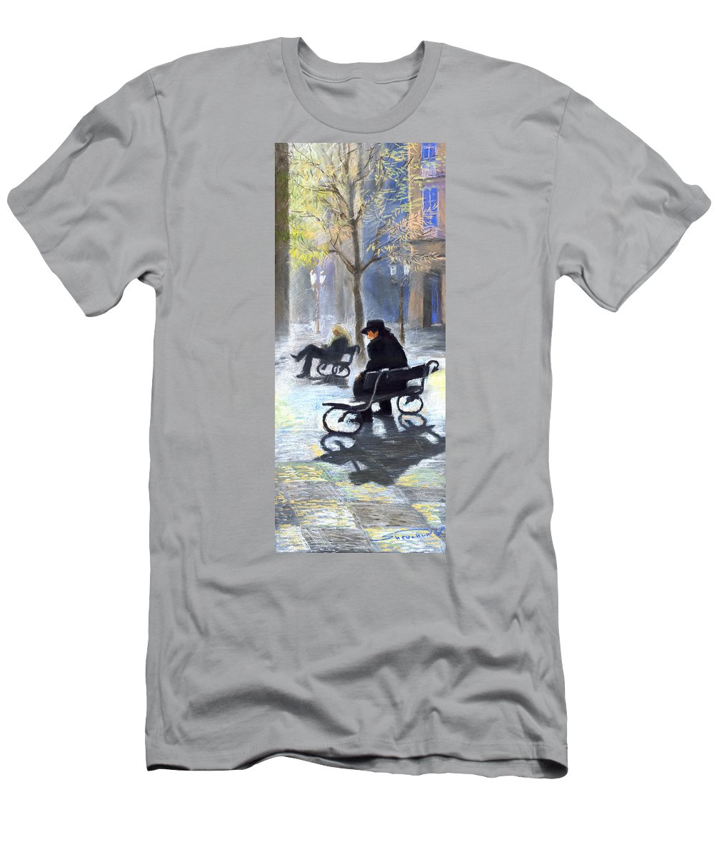 Prague Men's T-Shirt (Athletic Fit) featuring the painting Prague Autumn Ray by Yuriy Shevchuk