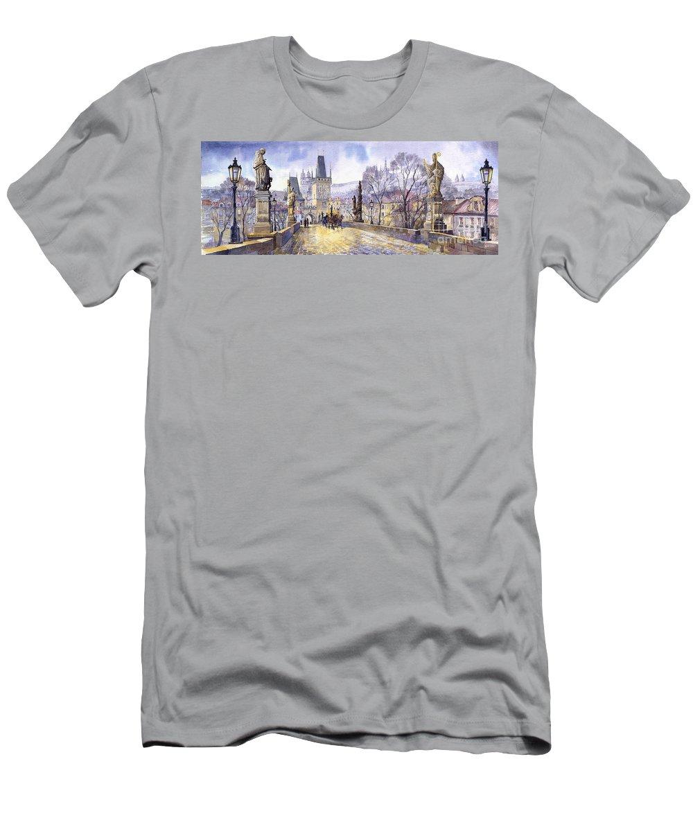 Watercolour Men's T-Shirt (Athletic Fit) featuring the painting Prague Charles Bridge Mala Strana by Yuriy Shevchuk