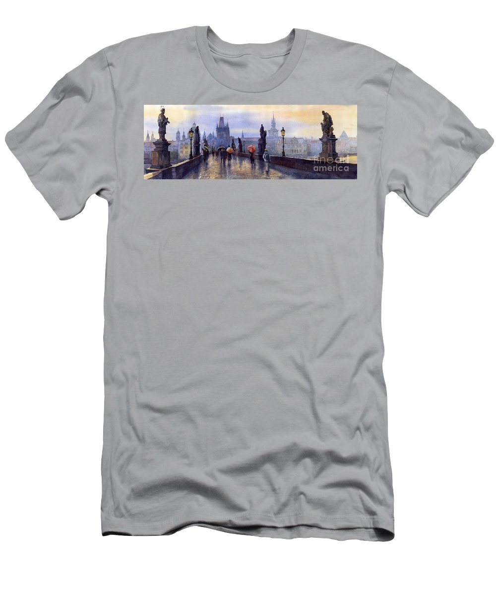 Cityscape Men's T-Shirt (Athletic Fit) featuring the painting Prague Charles Bridge by Yuriy Shevchuk