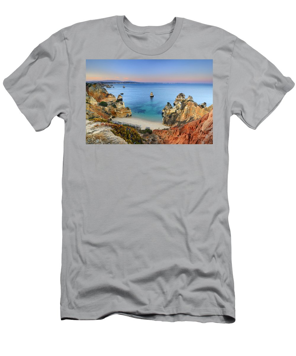 Sunset Men's T-Shirt (Athletic Fit) featuring the photograph Praia Do Camilo At Sunset by Guido Montanes Castillo