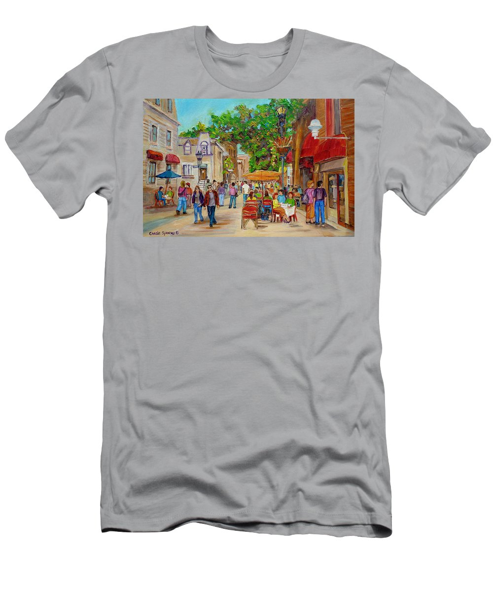 Montreal Men's T-Shirt (Athletic Fit) featuring the painting Prince Arthur Restaurants Montreal by Carole Spandau